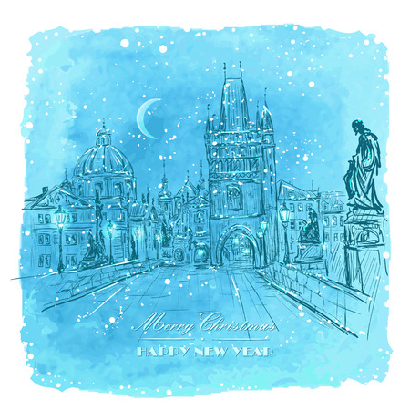 charles bridge: Vector Christmas card - Charles Bridge in Prague - Czech Republic at night lighting