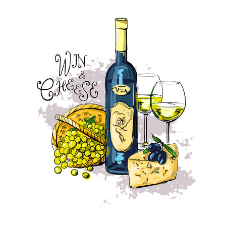 wine and cheese: bottle of wine, two glasses with white wine, cheese, olives and grapes. vector illustration