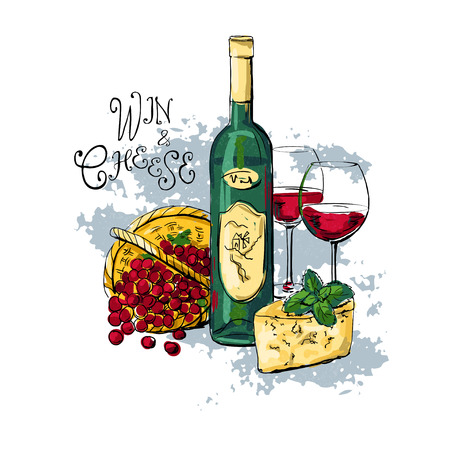 wine and cheese: bottle of wine, two glasses with red wine, cheese and grapes. vector illustration Illustration