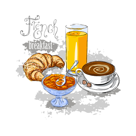 continental food: French breakfast with baguette and orange.  vector illustration