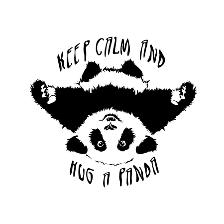 Funny and touching panda wants to hug and cuddle. keep calm and hug a panda Illustration