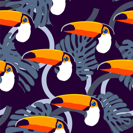 wild animals: Seamless exotic tropical vector pattern with toucans, circles and leaves