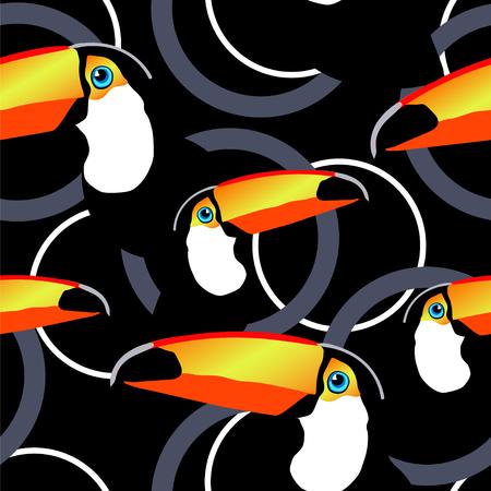 Seamless exotic tropical vector pattern with toucans,  and  circles Illusztráció