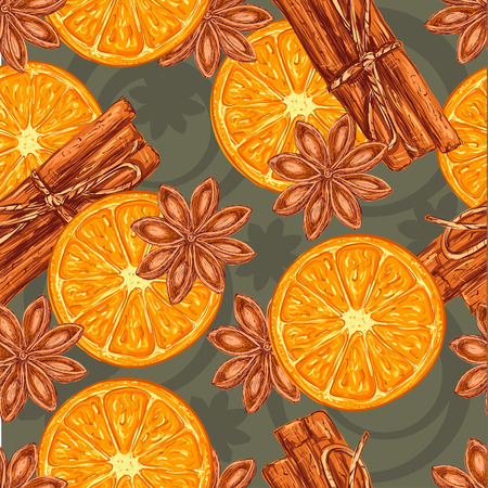 anise: Seamless pattern of fragrant cinnamon bark, Anise Star and Orange Stock Photo