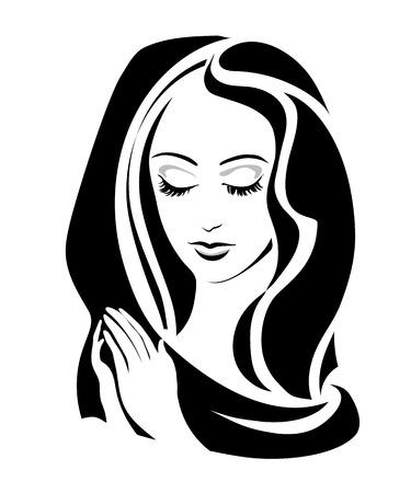 vierge marie: monochrome Virgin (Madonna) avec ses mains jointes en prière. Vector illustration