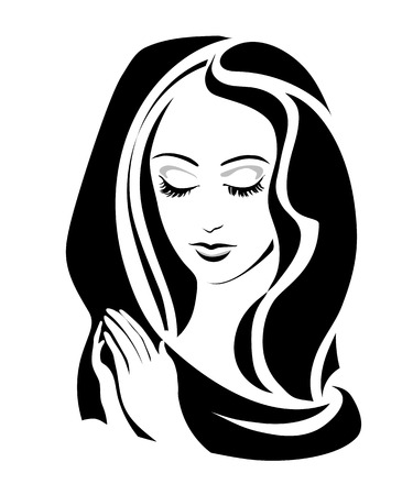gods: monochrome Virgin (Madonna) with her hands folded in prayer. Vector illustration
