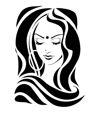 Modest Shy Indian girl with downcast eyes, Tilak dupatta in a retro style. Vector illustration. Vettoriali