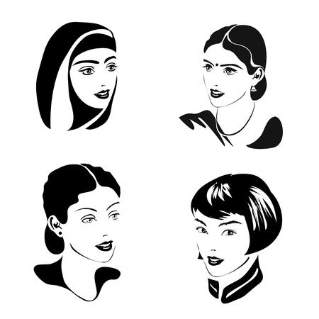 서로 다른 국적과 종교의 여성의 초상화 검은 색입니다. 유럽, 인도, 아시아, 아랍. 벡터