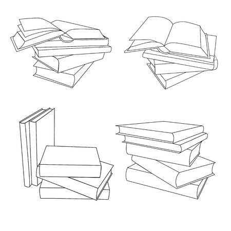 Set stacks of book. Opened and closed books,  stacked books and single book isolated on white background. Monoline vector icons Illustration