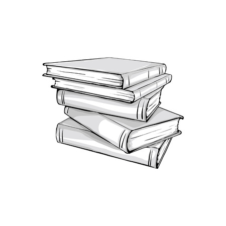 stacked books: sketch of a stack of books. Opened and closed books,  stacked books and single book isolated on white background.