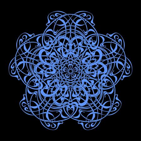 Abstract ethnic stranded circular pattern. Mandala.  Art Nouveau Illustration