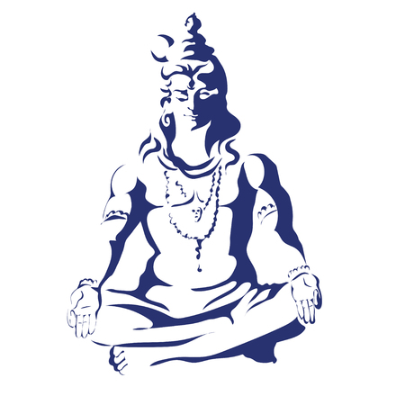 Lord Shiva in the lotus position and meditate. Maha Shivaratri. Black and white illustration Vectores