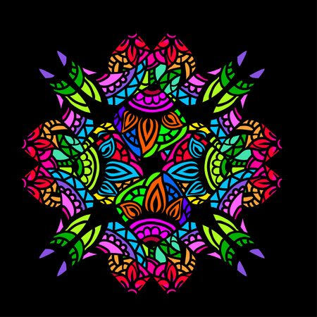 blue glass: Ornament color card with mandala in the style of stained glass on a black background. Indian, Arab, African, Mexican decorative vector elements.