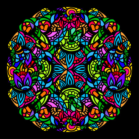 Ornament color card with mandala in the style of stained glass on a black background. Indian, Arab, African, Mexican decorative vector elements.