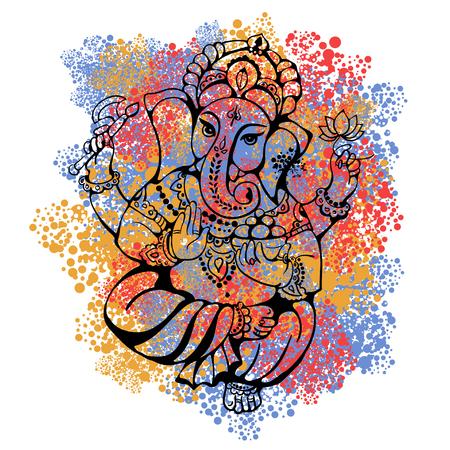힌두교 주 가네의 벡터 고립 된 이미지. 가네 푸자. 가네 Chaturthi. 그것은 엽서, 인쇄, 섬유, 문신에 사용됩니다.