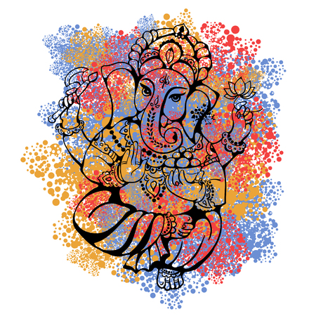 ancient elephant: vector isolated image of Hindu lord Ganesh. Ganesh Puja. Ganesh Chaturthi. It is used for postcards, prints, textiles, tattoo.
