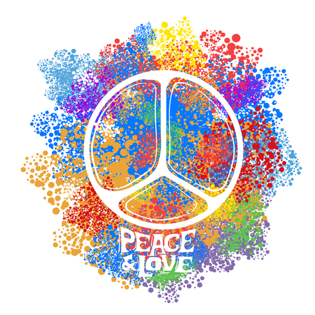 antiwar: Abstract vector illustration Hippie Symbol over colorful background. Idea Peace, Freedom, Love, antiwar, Spirituality. Vector illustration for t-shirt print over Illustration