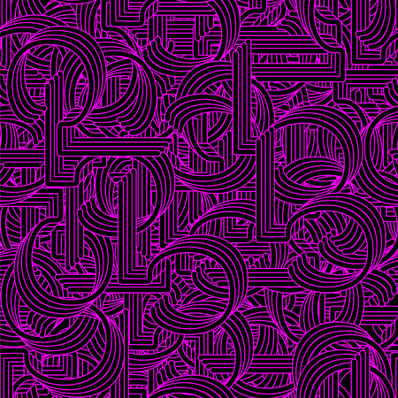 tubing: Seamless pattern in Retro style. Coiled pipes and repeated tubing. Vector.