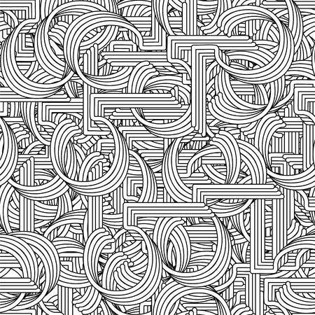 coiled: Seamless pattern in Retro style. Coiled pipes and repeated tubing.