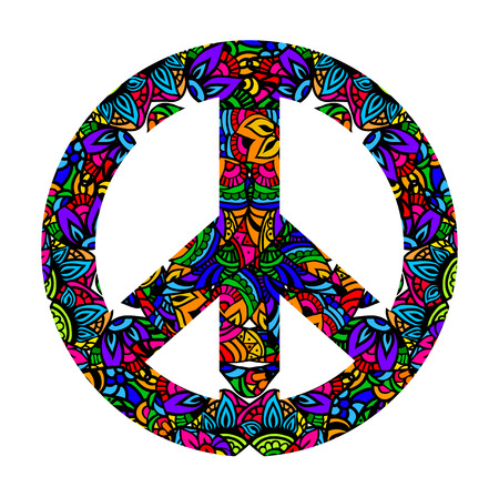 60s: Hippie style. Groovy Ornamental of colorful retro peace sign 60s, 70s. Vector illustration