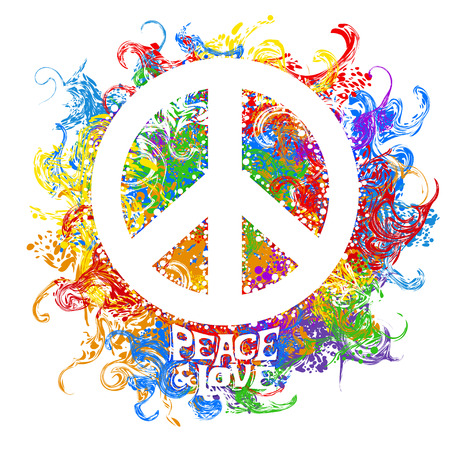 Abstract vector illustration Hippie Symbol over colorful background. Idea Peace, Freedom, Love, antiwar, Spirituality. Vector illustration for t-shirt print over Vettoriali