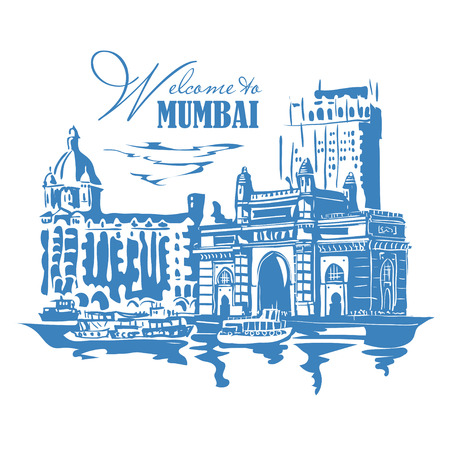 bombay: Mumbai, India Gate and the Taj Mahal Hotel Mumbai, the view from the Arabian Sea. Vector monochrome illustration.