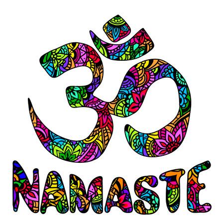 namaste: Om and namaste multicolor Ornament symbol. Pattern. Vintage decorative vector elements isolated. Hand drawn Indian mehendi.  Hindu symbol. Tattoo, yoga, spirituality, textiles, T-shirt printing