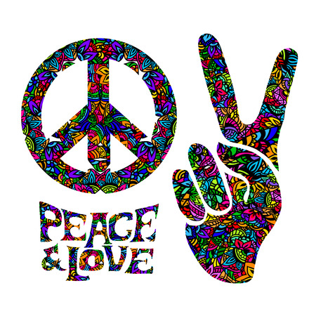 peace and love: hippie symbols two fingers as a sign of victory, a sign of Pacific and letterin love and peace. In the style of the 60s, 70s with elements of mehendi.