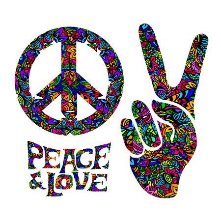 simbolo della pace: simboli hippie due dita in segno di vittoria, un segno di Pacifico e letterin amore e di pace. Nello stile degli anni '60, '70 con elementi di mehendi. Vettoriali