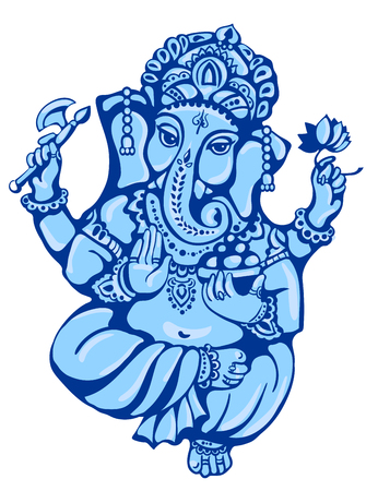 ganesha: vector isolated image of Hindu lord Ganesh. Ganesh Puja. Ganesh Chaturthi. It is used for postcards, prints, textiles, tattoo.