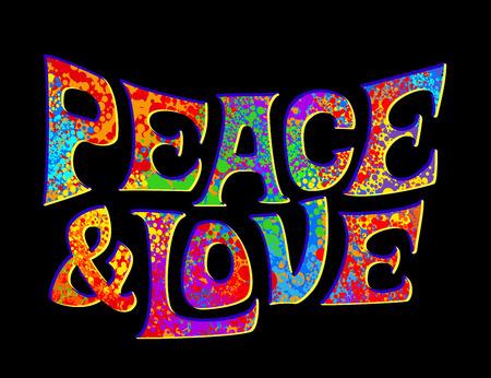 추상적 인 벡터 일러스트 레이 션 화려한 배경 위에 히피 기호입니다. 아이디어 평화, 자유, 사랑, 반전, 영성. 벡터 일러스트 레이 션 t- 셔츠 인쇄