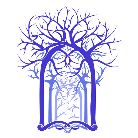 magical fairy: unusual magical fairy forest with twisted branches in the Gothic and Art Nouveau style. vector image