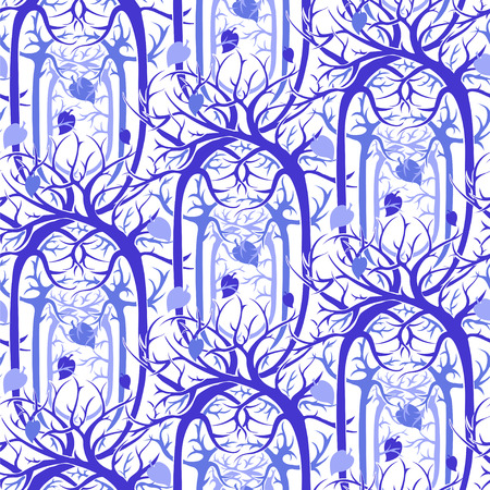 magical fairy: seamless pattern unusual magical fairy forest with twisted branches in the Gothic and Art Nouveau style. vector image