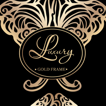 burgundy background: Luxury golden vintage lines and swirls in the style of Art Nouveau on burgundy background. Vector