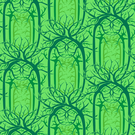 fairy forest: seamless pattern unusual magical fairy forest with twisted branches in the Gothic and Art Nouveau style. vector image