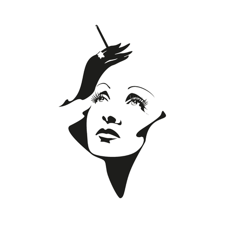 Vector stylized portrait of Marlene Dietrich