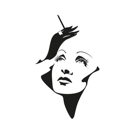 famous actress: Vector stylized portrait of Marlene Dietrich