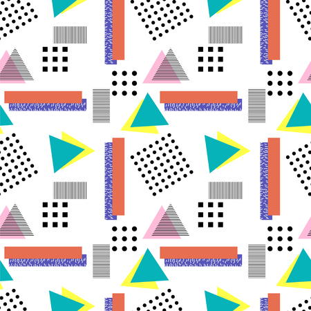 nineties: Memphis  style. Seamless geometric vintage seamless pattern in Retro 80s or 90s. Can be used in the textile fabric, paper print, web design. Vector illustration.