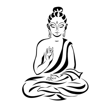 praying: Buddha in the lotus position. Black outlines isolated on white. Vintage Vector. decorative elements.
