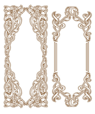 Vintage Art Nouveau frame composed of vignettes, leaves and flowers of golden color on a white background