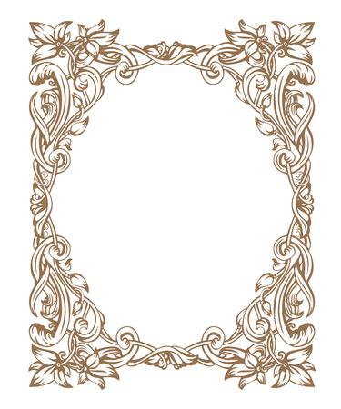 Vintage Art Nouveau omlijsting bestaat uit vignetten, bladeren en bloemen van de gouden kleur op een witte achtergrond Stockfoto - 51019962