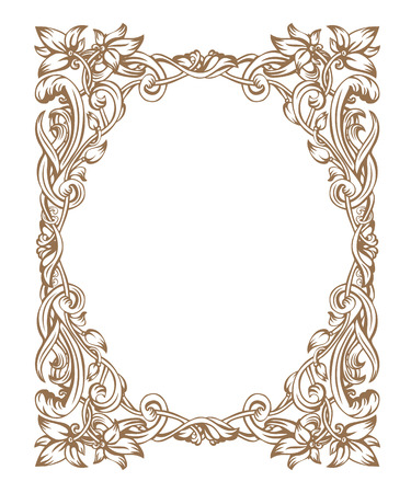 Vintage-Rahmen Jugendstil, bestehend aus Vignetten, Blätter und Blüten der goldenen Farbe auf weißem Hintergrund Vektorgrafik