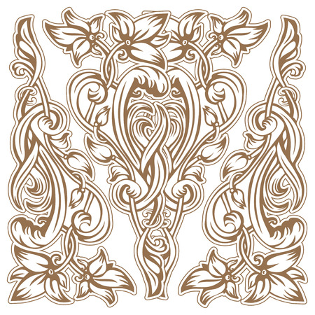 Vector vintage pattern of flowers and leaves in the Art Nouveau style Stock Vector - 51019978