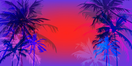 tropical sunset: Tropical sunset on palm beach horizontal orientation, can be used for a poster, or printing on fabric