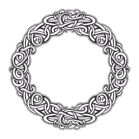 interlocking: Vintage round frame of interlocking elements