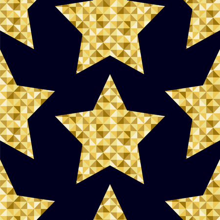 painted the cover illustration: seamless pattern of gold stars on a black background Illustration