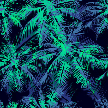 Seamless vector  tropical pattern depicting  white palm tree on a black background Vettoriali