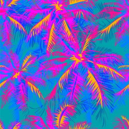 청록색 배경에 노란색 하이라이트 반사와 핑크와 보라색 야자 나무를 묘사 열대 패턴