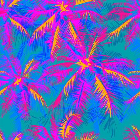 tropical pattern depicting pink and purple palm trees with  with yellow highlights reflections on a turquoise background