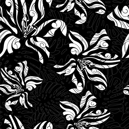 tiger lily: Tropical monochrome pattern white tiger lily black background